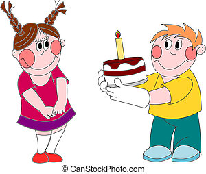 Boy And Girl At Table With Happy Birthday Cake Eps Vector Csp45474029
