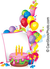 Happy Birthday - Bright Holiday composition of cake, ...