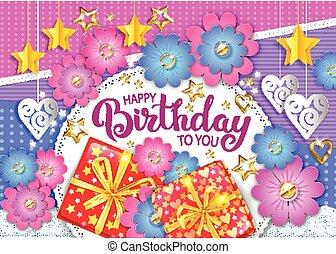 Happy birthday bright vector banner