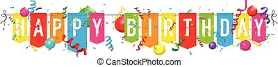 Happy birthday bunting with balloons