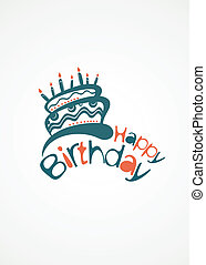 Happy Birthday Cake - Birthday card with cute cake and place...