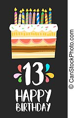 Happy Birthday cake card 13 thirteen year party - Happy...
