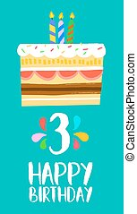 Happy Birthday cake card for 3 three year party - Happy ...
