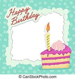 Happy birthday cake card.