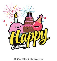 Happy Birthday Cake firework Background Vector Image