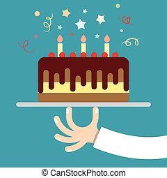 hand holds birthday cake on a tray, lit candles