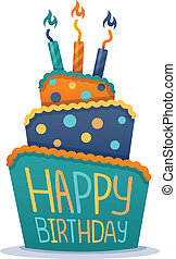 Happy Birthday Cake - Happy birthday cake with candles.