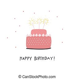 Happy Birthday cake illustration lettering card