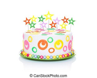 happy birthday cake or tart with star candles very colorful...