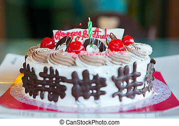 Birthday Cake Shot Images ~ Happy birthday cake shot on a red background with candles stock