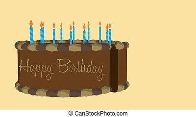Happy Birthday Cake - Happy birthday cake on a beige...