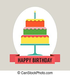 Happy Birthday Cake Vector.