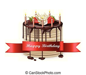 Happy Birthday cake Vector realistic. 3d detailed illustrations