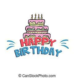 Happy Birthday Cake White Background Vector Image