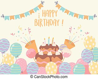 happy birthday cake with candles balloons candies confetti party decoration