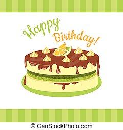 Happy Birthday Cake with Citrus Fruits Isolated.