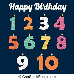 Happy Birthday Candles in Numbers for Your Family Party