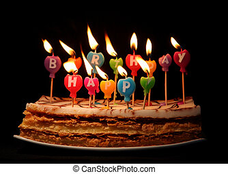 Happy birthday candles on a cake