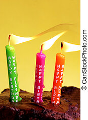Happy Birthday - Candles on a chocolate birthday cake