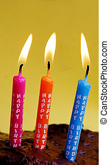 Happy Birthday candles - Pink, orange and blue birthday...