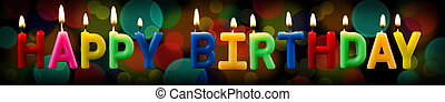happy birthday candles with bokeh background - happy...