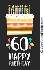 Happy Birthday card 60 sixty year cake - Happy birthday...