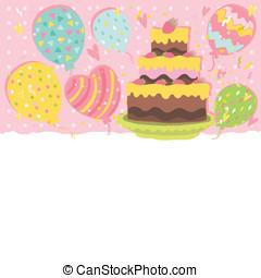 Happy Birthday card background with cake