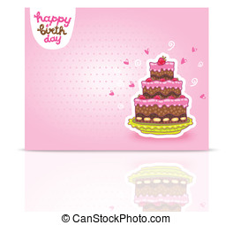 Happy Birthday card background with cake.