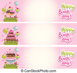 Happy Birthday card background with cakes