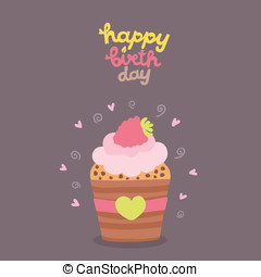 Happy Birthday card background with cupcake