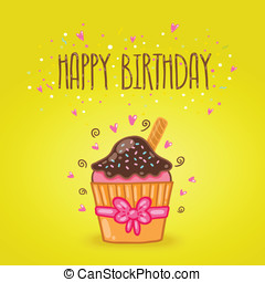 Happy Birthday card background with cupcake.