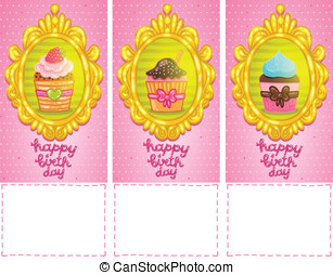 Happy Birthday card background with cupcakes.