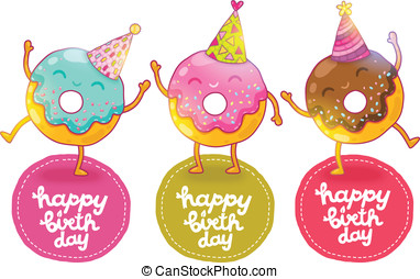 Happy Birthday card background with cute donut. Holiday...