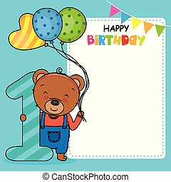 Happy birthday card. Bear with balloons and the number one