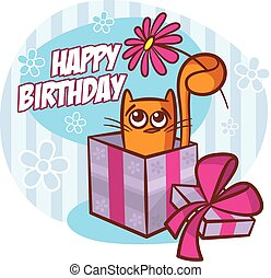 Happy Birthday Card Cat with Flower