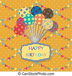 Happy birthday card. Celebration background with balloon, colored carnival caps and place for your text. vector illustration