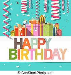 Happy Birthday Card. Confetti and Gift Boxes. Vector Design.