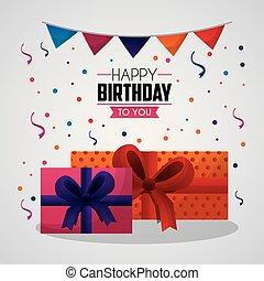 happy birthday card confetti big gift boxes pennants ...