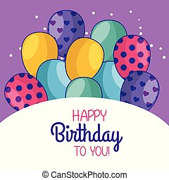 happy birthday card decoration with balloons