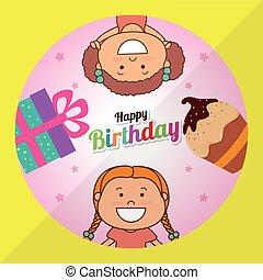 Happy birthday card design.