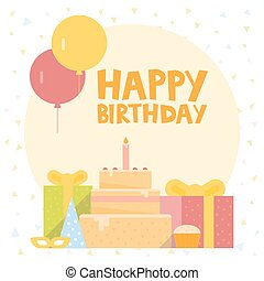 Happy Birthday Card Design with ballons, confetti, cake and gift box. Vector illustration