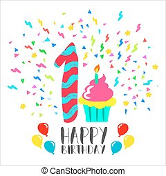 Happy Birthday card for 1 year baby fun party art