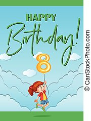 Happy birthday card for eight year old