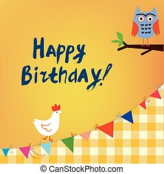 Happy birthday card for the kids with owl and chicken