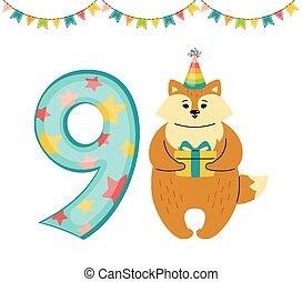 Happy Birthday card Fox number nine flat vector
