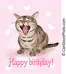 Happy birthday card. Funny cat sings greeting song. Pink background with hearts and flowers.