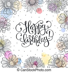 Happy birthday card - Happy birthday greeting card. Sketch...