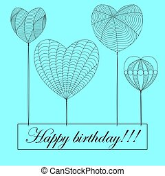 happy birthday card in zenart style, hearts on blue background with different patterns , balls in the shape of a heart hold a sign