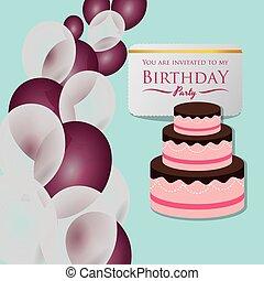 happy birthday card invitation cake balloons