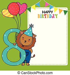 Happy birthday card. Lion with balloons and the number eight